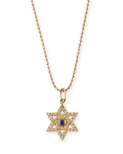 Diamond & Sapphire Star of David Necklace