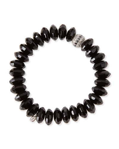 12mm Faceted Black Agate Beaded Bracelet w/ 14k White Gold Diamond Disc ...