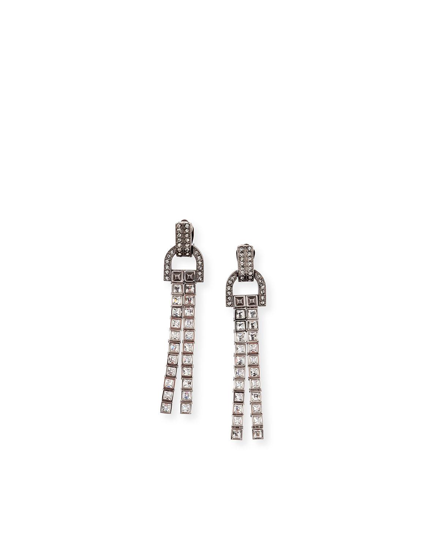 Linear Crystal Tassel Earrings