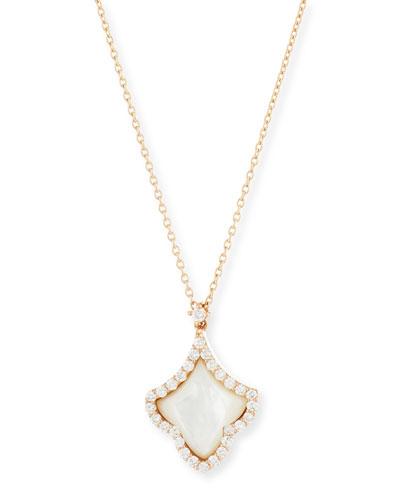 18K Rose Gold Mother-of-Pearl Deco Fleur-de-Lis Necklace
