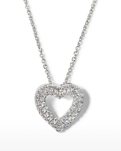 Double-Row Diamond Heart Pendant Necklace