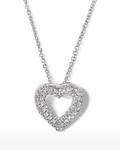 Double-Row Diamond Heart Pendant Necklace