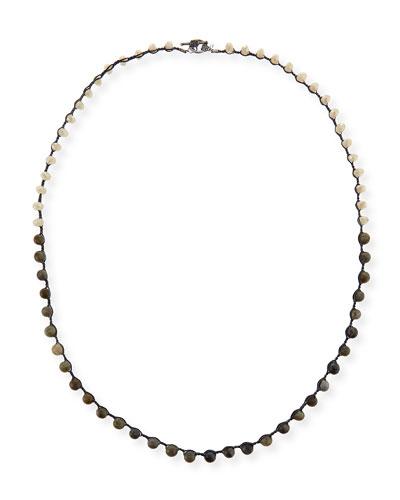 Sand Crystal & Labradorite Crocheted Necklace, 36