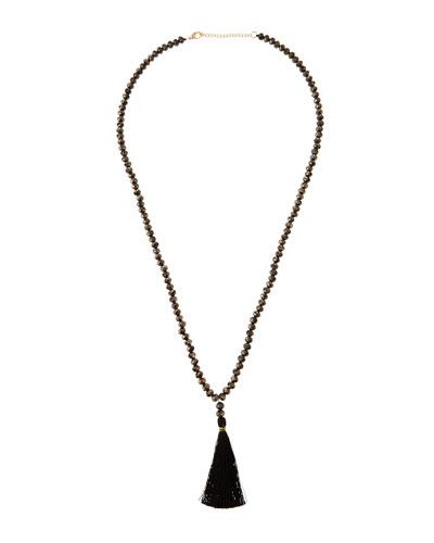 Tassel-Drop Beaded Necklace, Black