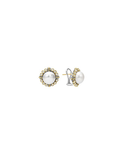 10mm 18K Gold Luna Pearl & Diamond Earrings
