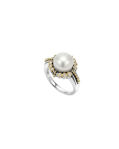 10mm 18K Luna Pearl & Diamond Ring, Size 7