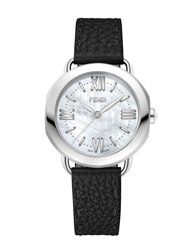 36mm Selleria Stainless Steel Leather Strap Watch, Black
