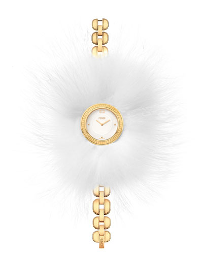 36mm Fendi My Way Watch w/Removable Fur Glamy, Yellow Gold