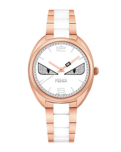 Stainless Steel Fendi Diamond Bug Watch, Rose