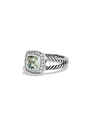 Petite Albion Ring with Prasiolite and Diamonds