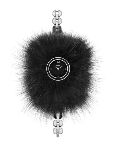 36mm Fendi My Way Ceramic Watch w/Removable Fur Glamy, Black