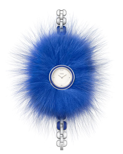 36mm Fendi My Way Ceramic Watch w/Removable Fur Glamy, Blue