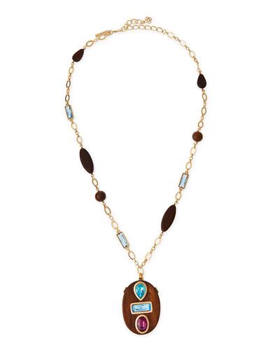 Wooden Swarovski® Crystal Pendant Necklace