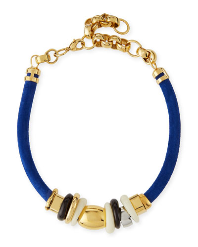 Treasure Surf Suede Necklace, Blue