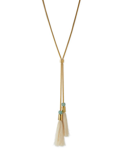 Straw Tassel Lariat Necklace