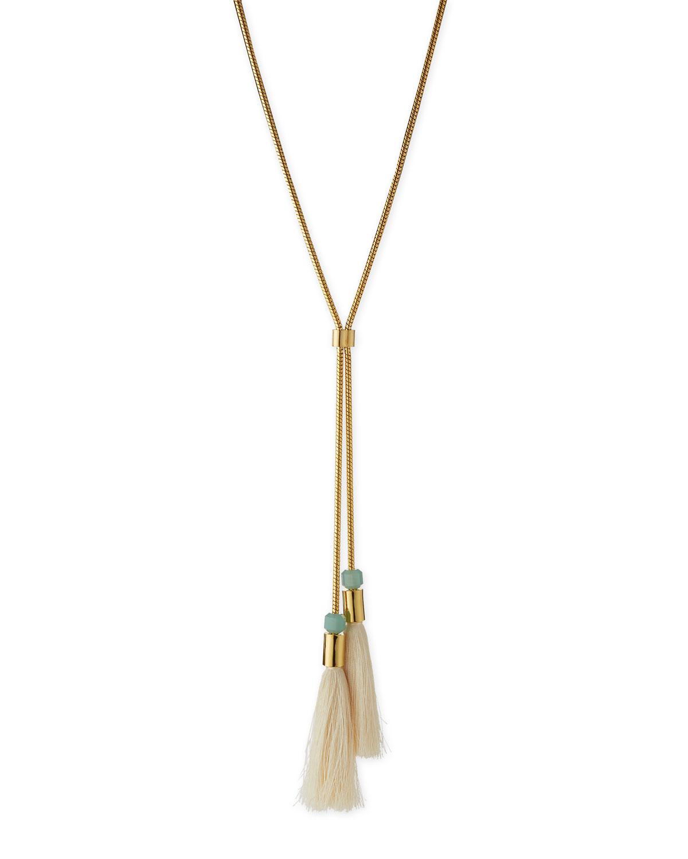 Straw Tassel Lariat Necklace