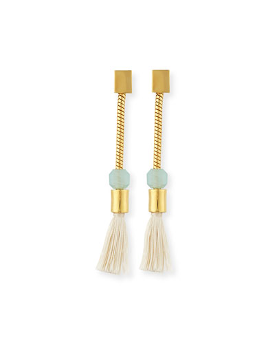 Straw Tassel Crystal Earrings, Blue