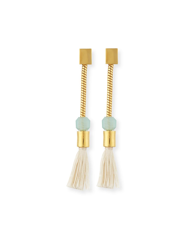 Straw Tassel Crystal Earrings, Blue