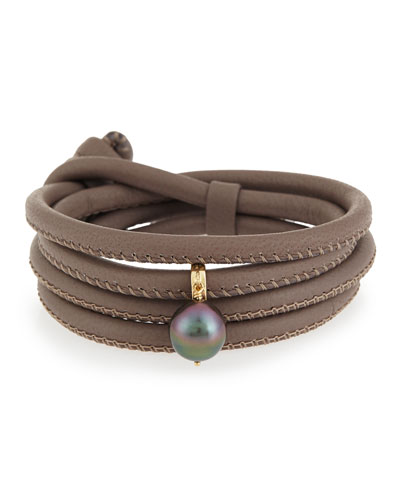 Convertible Leather Wrap Bracelet/Choker with Pearl Charm, Taupe