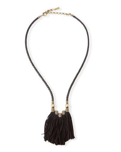 Topanga Leather Fringe Necklace