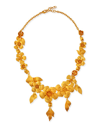 Golden Garden Party Statement Necklace