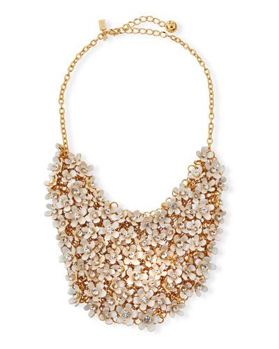 pretty petals bib necklace, white
