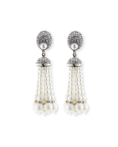 Pearly Tassel Drop Clip Earrings