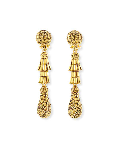 Golden Tiered Baguette Teardrop Earrings
