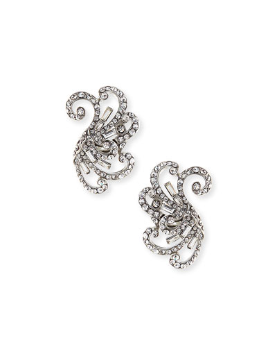 Swirled Crystal Clip-On Earrings