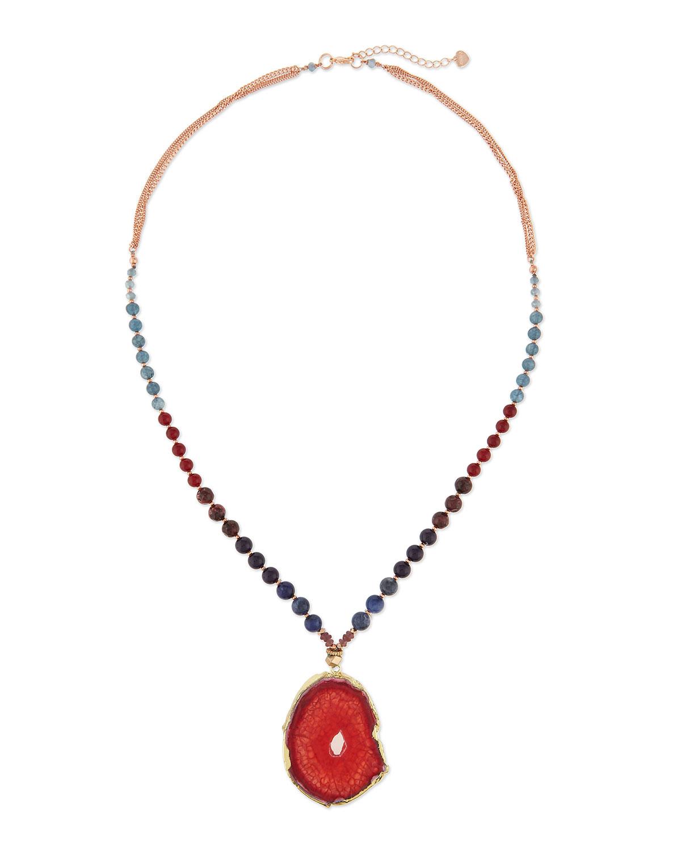 Blue Agate & Lapis Pendant Necklace