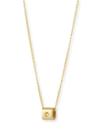 18K Yellow Gold Mini Pois Mois Cube Necklace