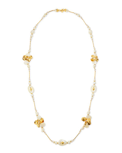 Long Golden Mother-of-Pearl & Crystal Beaded Necklace, 49
