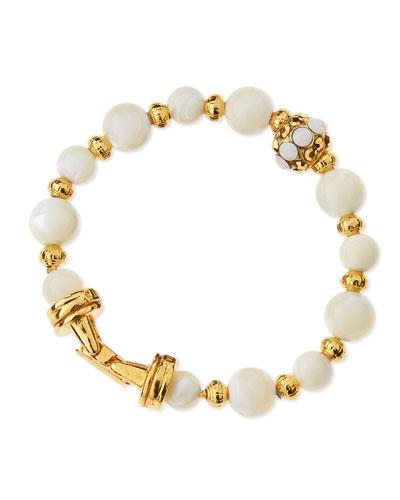 Golden Mother-of-Pearl Beaded Bracelet