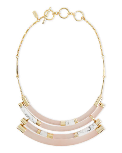 Colorblock Crescent Howlite Bib Necklace, Sunset