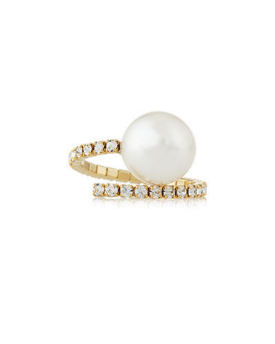Kris Crystal Pearly Wrap Ring, Gold