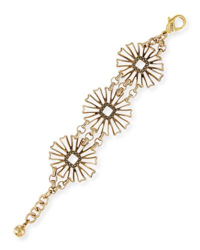Daisy Flower-Medallion Chain Bracelet