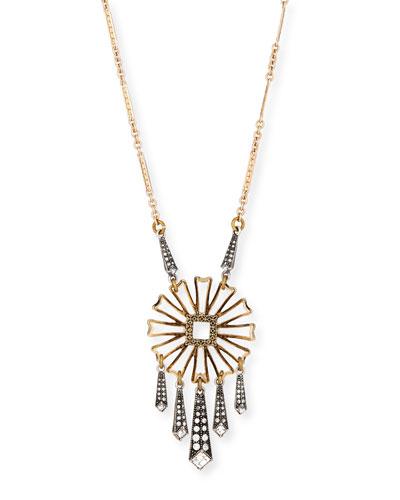 Daisy Floral-Pendant Necklace w/ Glass Stones, 28