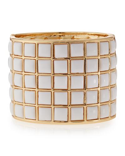 White-Square Cuff Bracelet