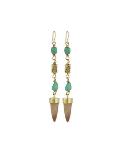Uti Light Horn & Turquoise Drop Earrings