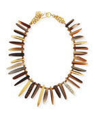 Nyasi Horn Collar Necklace, Brone