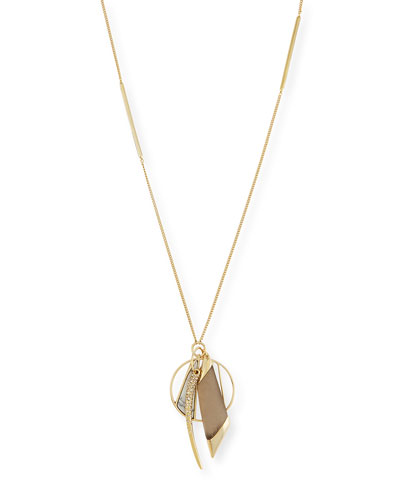 Multi-Charm Pendant Necklace, Warm Gray