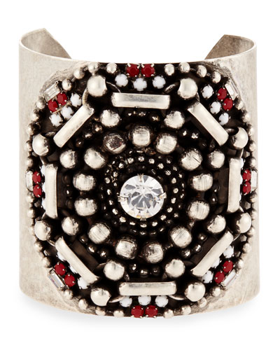 Santiago Geometric Wide Cuff Bracelet, Matte Red