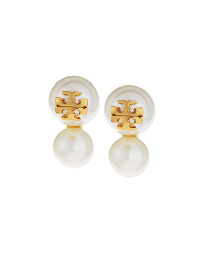 Logo Stud Pearly Double-Drop Earrings