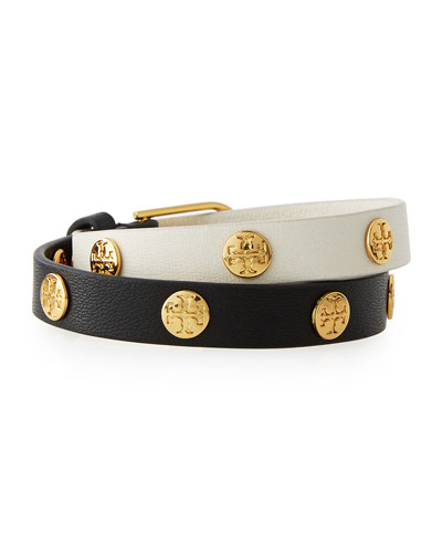 Colorblock Leather Logo-Stud Wrap Bracelet, Black/New Ivory