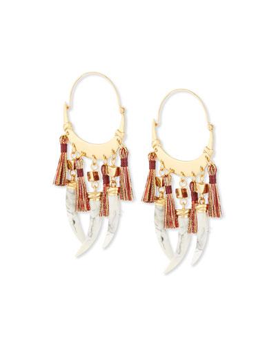 Dangling-Horn Hoop Earrings