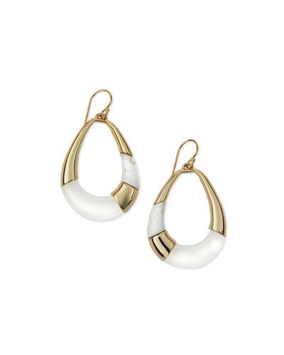 Open Colorblock Teardrop Earrings, Clear
