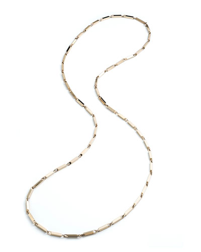 Large 14K Gold Peaked Link Necklace, 40