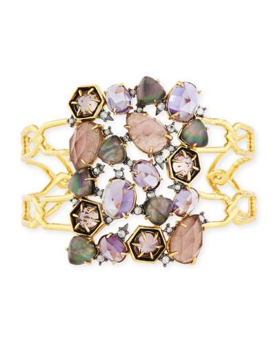 Mosaic Mixed Crystal Cuff Bracelet