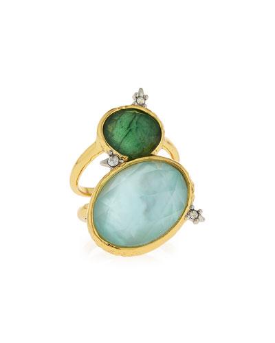 Multi-Crystal Statement Ring, Green