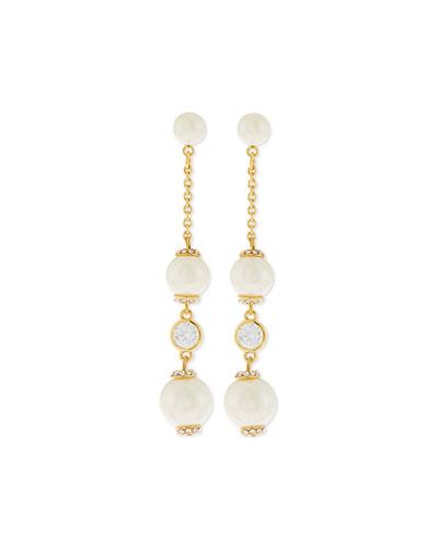 glass pearls of wisdom earrings, cream